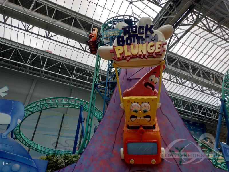 SpongeBob SquarePants Rock Bottom Plunge im Park Nickelodeon Universe Impressionen